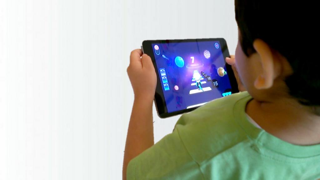 Kids learning numbers on iPad